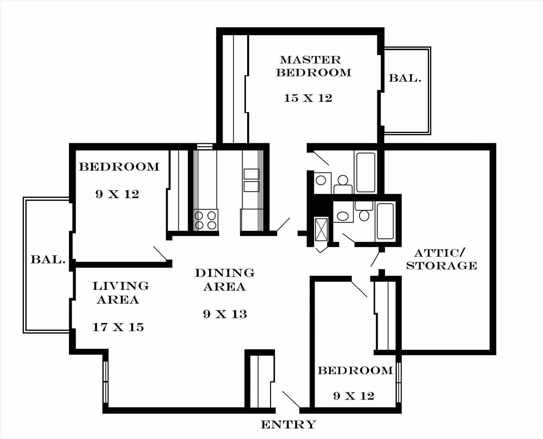 3 Bedroom Flat Plan Drawing 3 Bedroom Floor Plan Floor Plans Bedroom Floor Plans