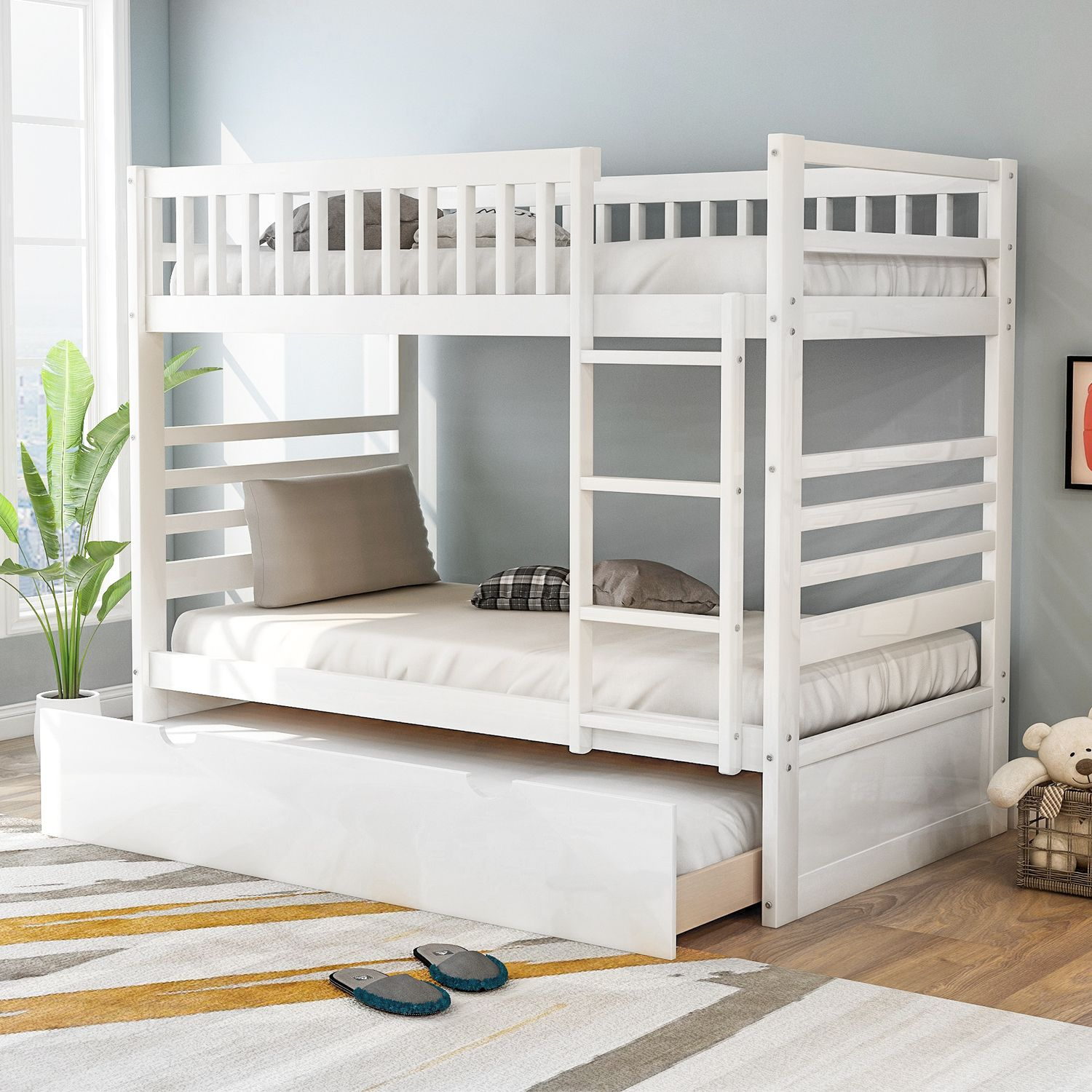 Home In 2020 Bunk Bed With Trundle Solid Wood Bunk Beds Wood