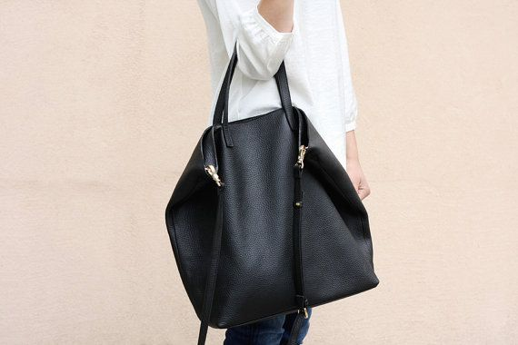 02912f7f26041 DOMI Top Zip Black Leather Tote Bag by MISHKAbags on Etsy