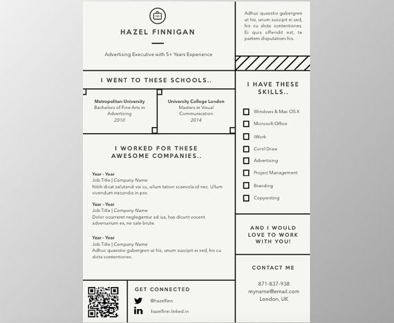 Resume 3 Pages With Qr Code Cover Letter Reference Template For Word Creative Resume Resume Template Instant Download Pr Lettering Resume Resume Template