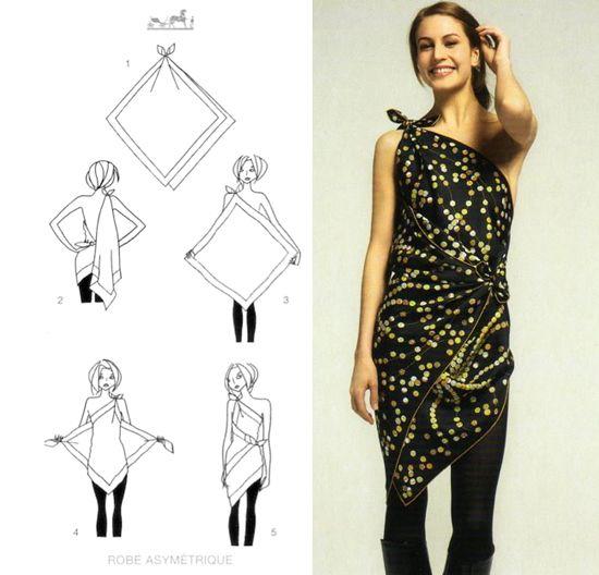 0387cf8a5035 Transformer, nouer et porter un foulard carré en robe longue ou ...