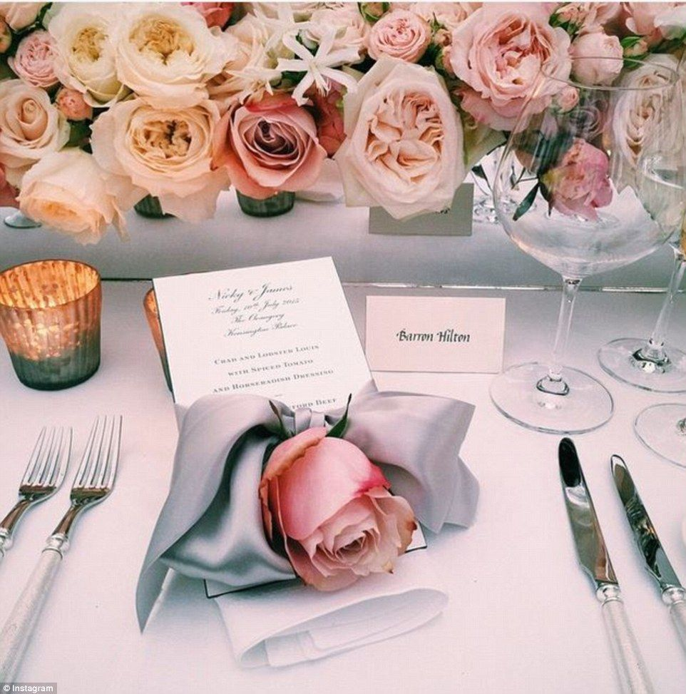 Stunning: Barron Hilton shared a look at the gorgeous table settings at the dinner