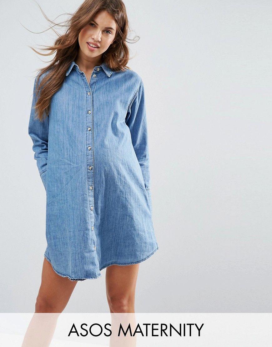 ASOS MATERNITY - Girlfriend-Hemdkleid aus Denim - Blau ...