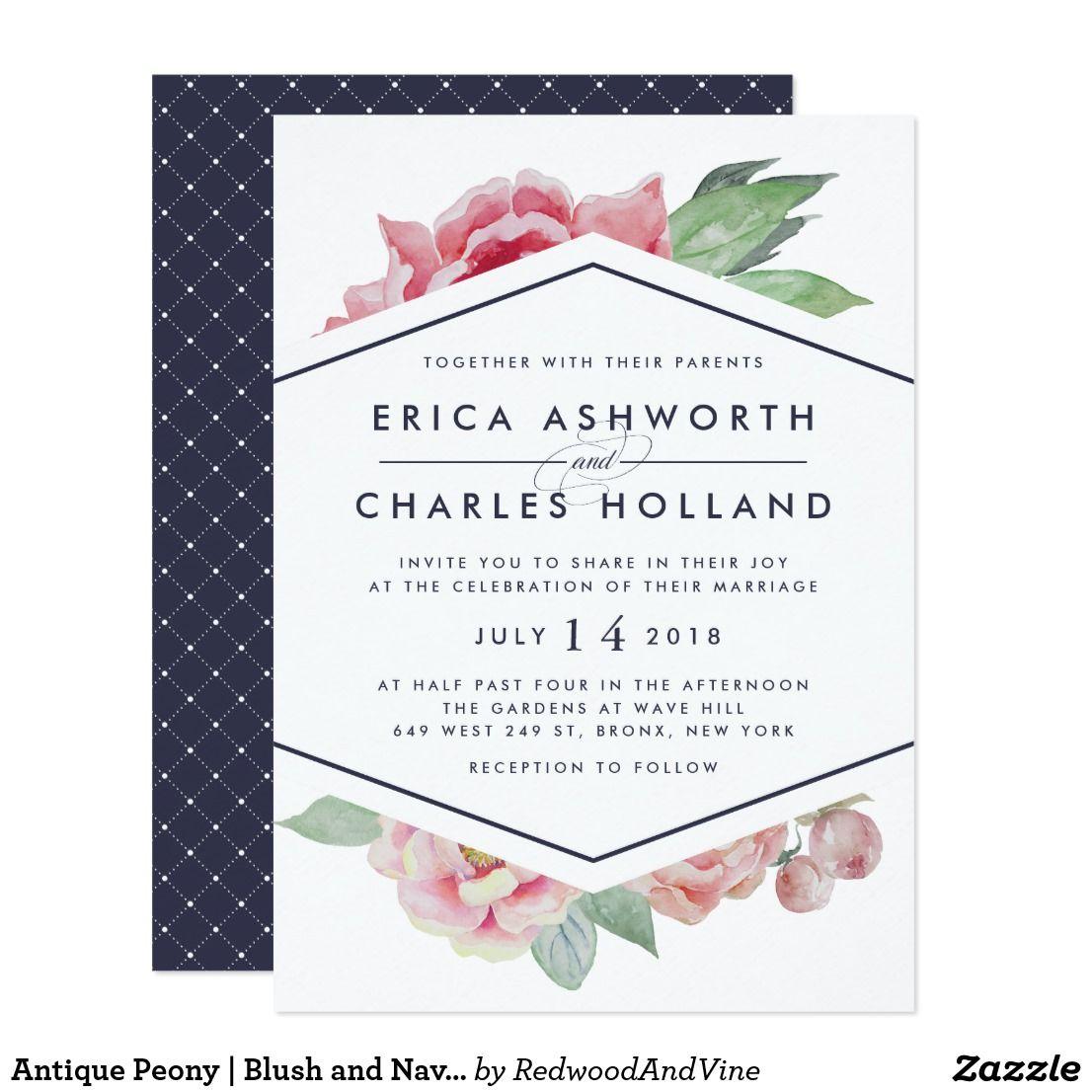 Antique Peony | Blush and Navy Wedding Invitation | Navy weddings ...