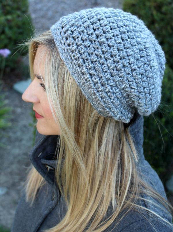 Free Slightly Slouchy Crochet Hat Pattern | Pinterest | Stricken und ...