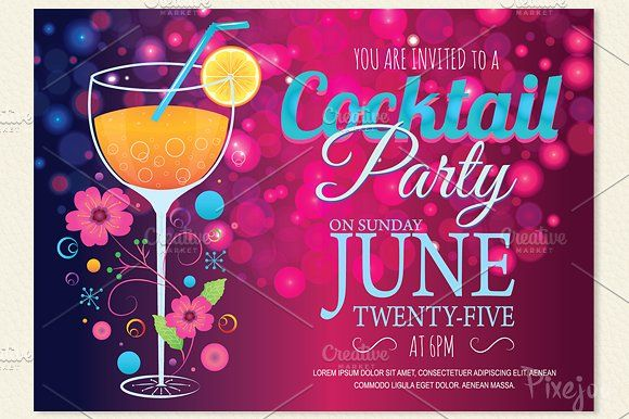 Cocktail Party Invitation Card By Pixejoo On Creativemarket