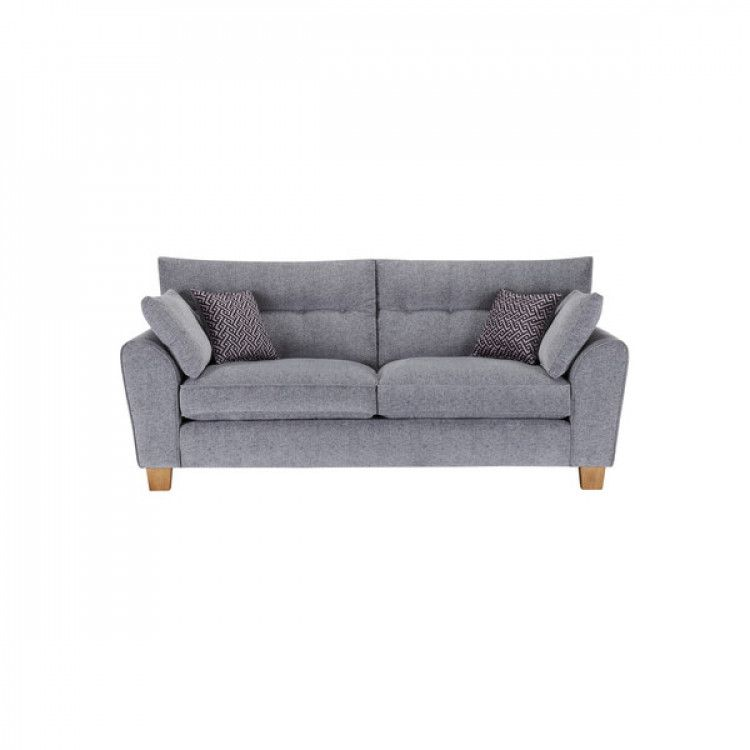 Brooke 3 Seater Sofa In Grey With Grey Scatters Sofa Three Seater Sofa Fabric Sofa