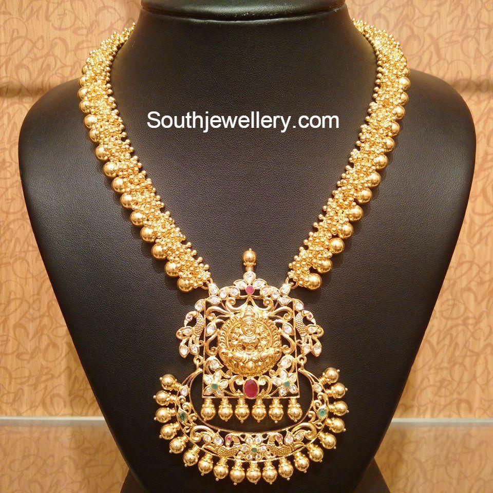 Antique gold necklace with lakshmi pendant neckpieces pinterest