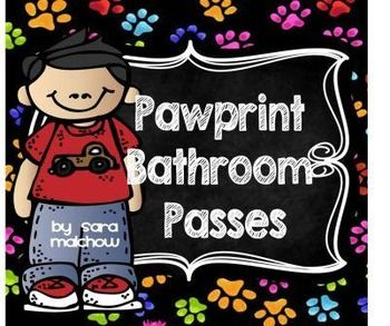 Pawprint Dog Cat Bathroom Passes Bathroom Pass Dog Cat Cats