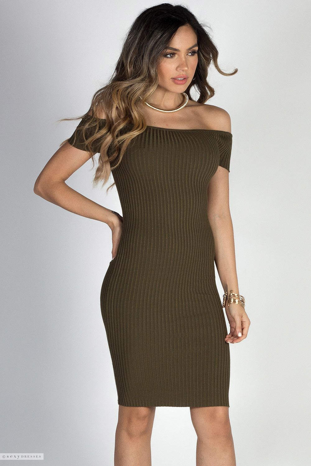 3111d5066011b Ribbed Bodycon Short Sleeve Off Shoulder Sexy Olive Green Dress
