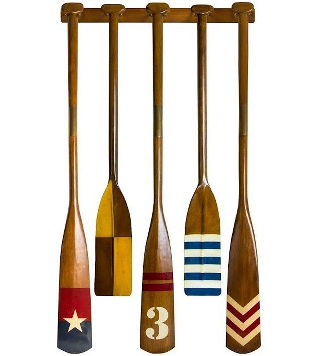 Varsity Crew Wood Oars Rack Set Wooden Canoes Oar