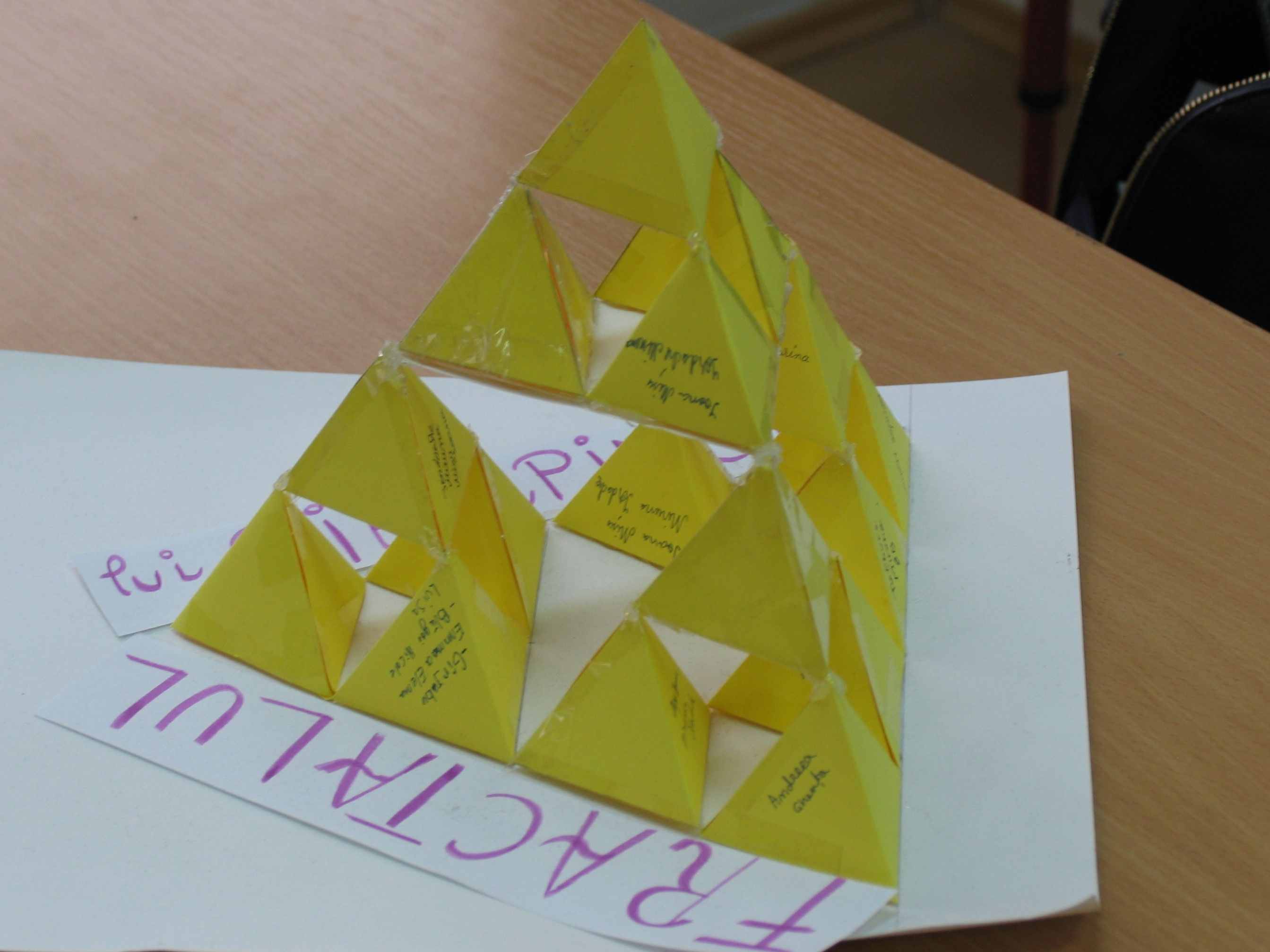 W Sierpinski Fractal 3d Triangle Made By Students