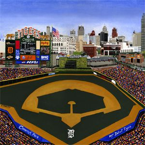 Comerica Park Home Of The Detroit Tigers Original Painting Reproduced On 4x4 Ceramic Tiles Coasters A Chicago Artwork Detroit Tigers Ceramic Tile Coaster