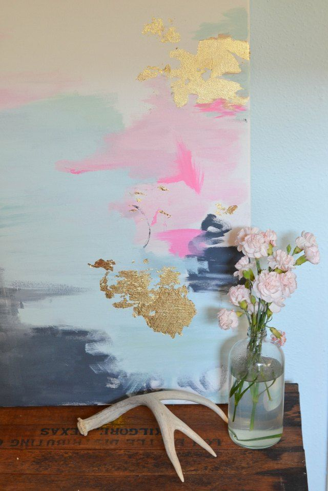 Diy Gold Leaf Wall Art : Gold leaf art on large canvas paintings