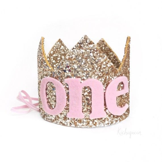 1st birthday crown headband customizeable- boy or girl- pink and silver baby / girl birthday crown- customizeable- pick any number #crownheadband