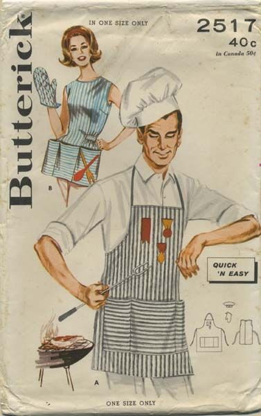 Vintage Apron Sewing Pattern | Butterick 2517 | Year 196? | One Size