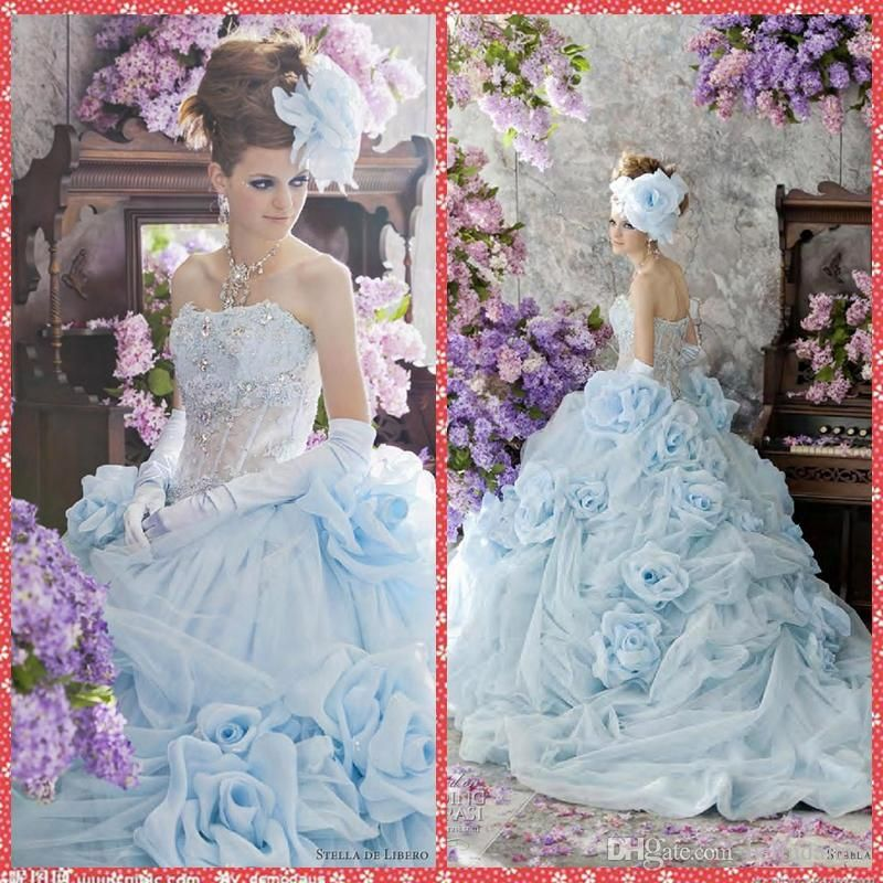 Princess Sky Blue Ball Gown Formal Wedding Dresses Handmade Flowers ...