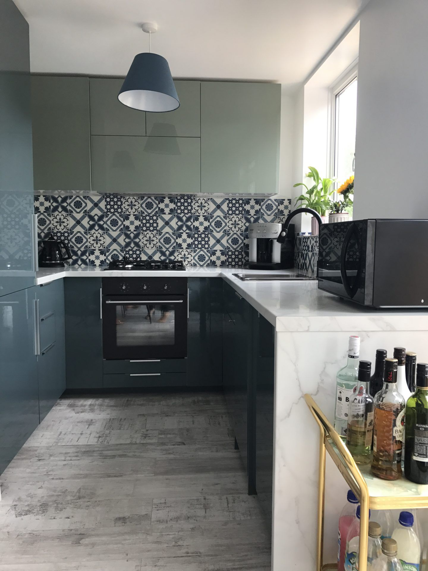 Kallarp Two Tone Blue And Green Kitchen Renovation Lvm
