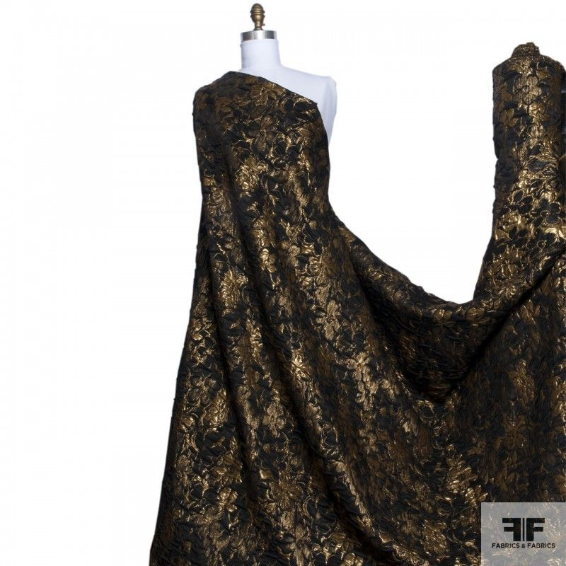 This imported metallic brocade has beautiful flowers woven into the fabric. It has a medium weight and a medium/soft drape. - See more at: https://fabrics-fabrics.com/index.php?id_product=433&controller=product#sthash.Oq831WeN.dpuf