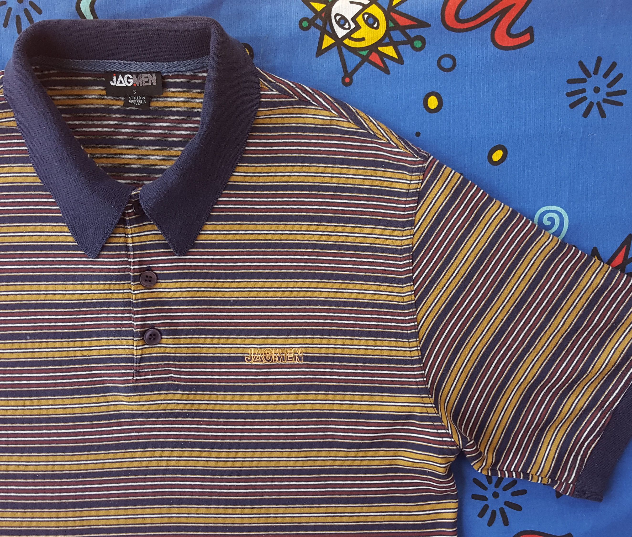2ee72060a840 90s Striped JAG MEN Polo Shirt / Grunge / Short Sleeve / Guess ASAP Style /