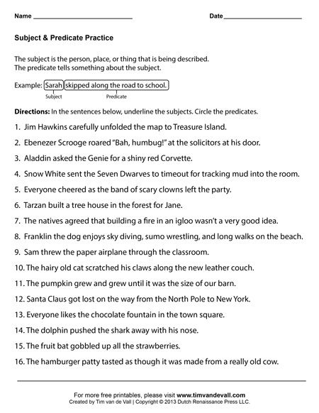 Subject and Predicate Worksheets | SUBJECT/PREDICATES | Pinterest ...