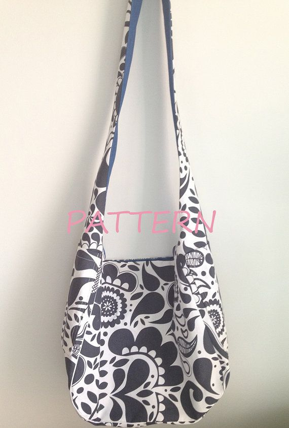 PATTERN Hobo Bag with Pockets, reversible sling bag sewing pattern ...