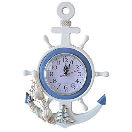 UQueen Mediterranean Style Simple Decorative Livingroom Bedroom Ocean Style Starfish Shell ,The Rudder Anchor Modelling Wall Clock,Desk Clock (6 x 8)