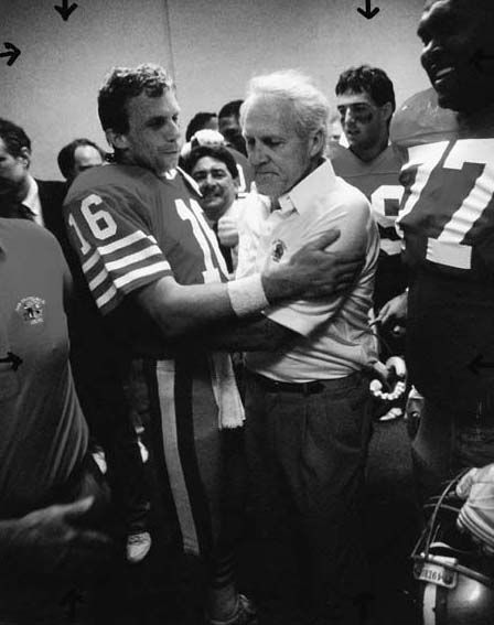 Photo of Joe Montana and Bill Walsh after the 49ers victory in Super …