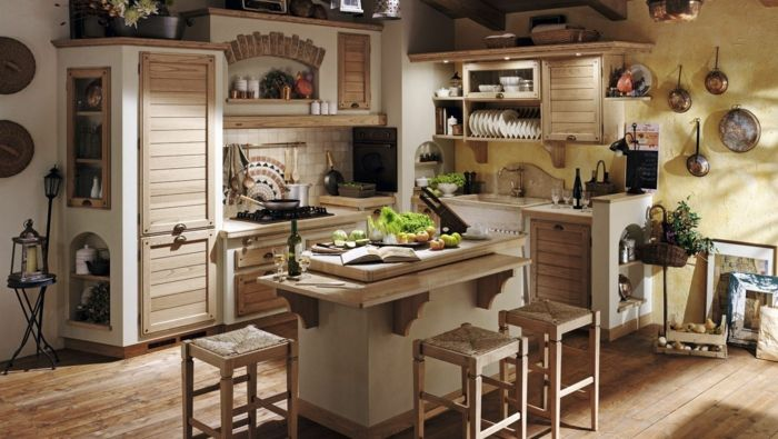 Cocina modernas peque as cocina r stica con pared for Sillas cocina amarillas