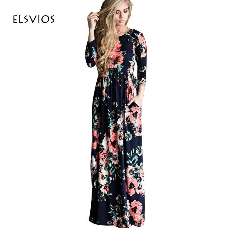 Women Floral Print Three Quarter Sleeve Casual Beach Tunic Long Boho Maxi Dress