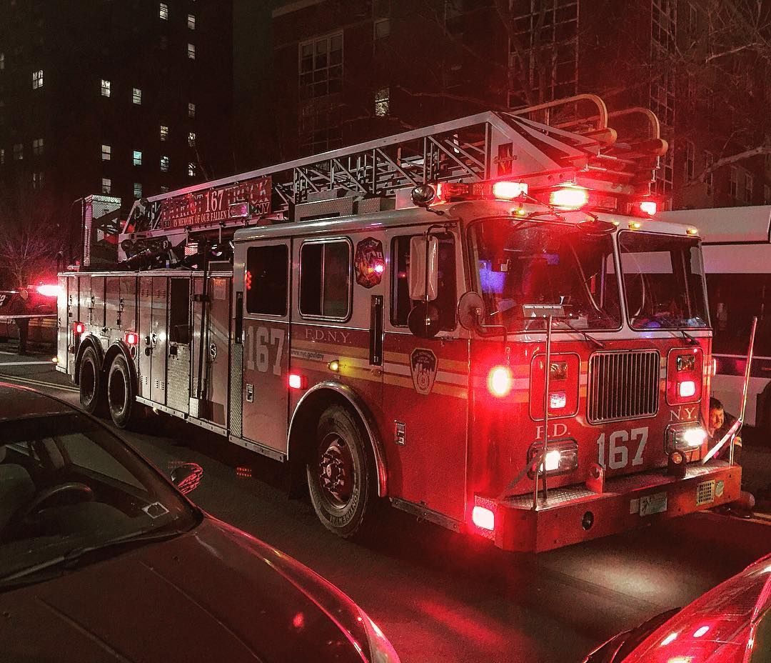 Fdny ladder 167 operating at a all hands fire on kissena