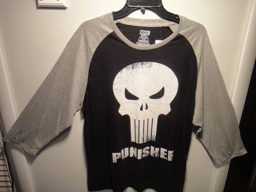 02387b96b7f4 Marvel Comics The Punisher Men's 3/4 Sleeve Shirt Black Gray White Size XL  #Marvel #GraphicTee