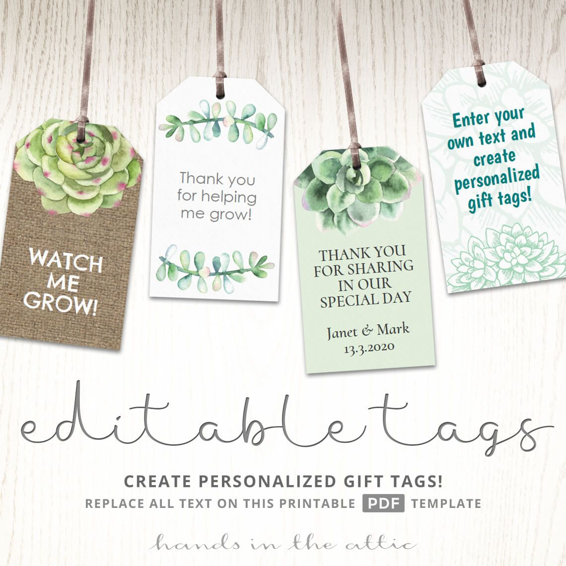 Succulent Gift Tags Plants And Cactus Labels With Images