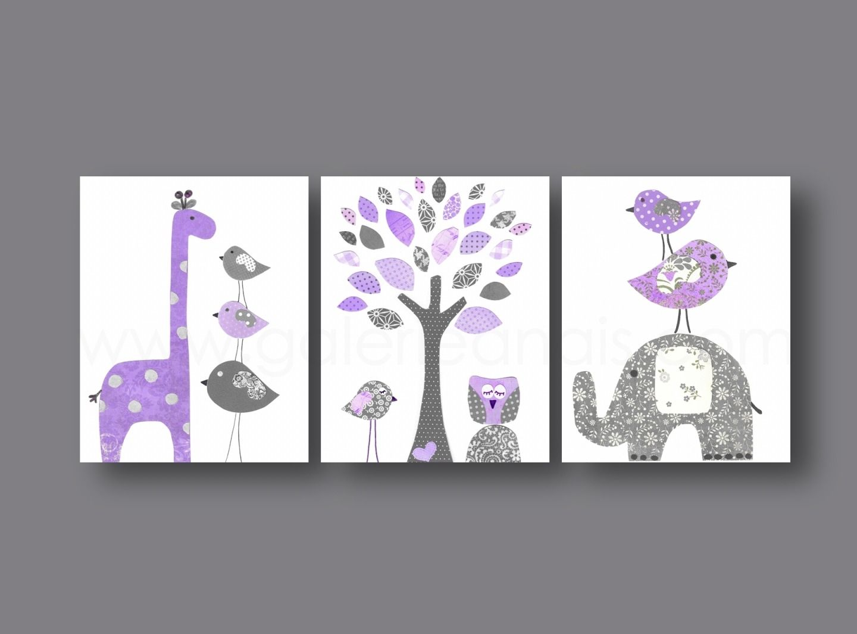 Lot de 3 illustrations pour chambre d\'enfant et bebe, mauve et gris ...