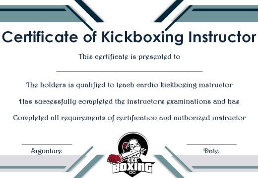 Kickboxing Certificate Templates For Instructors Students 11