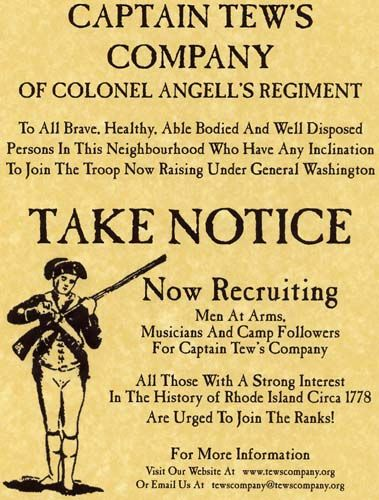 Recruiting Poster For American Revolution Recruiting Poster
