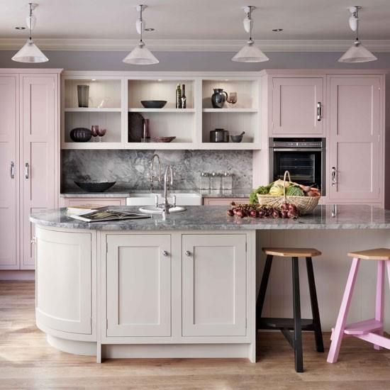 Paint Color Portfolio Pale Pink Kitchens Pink And Grey Kitchen