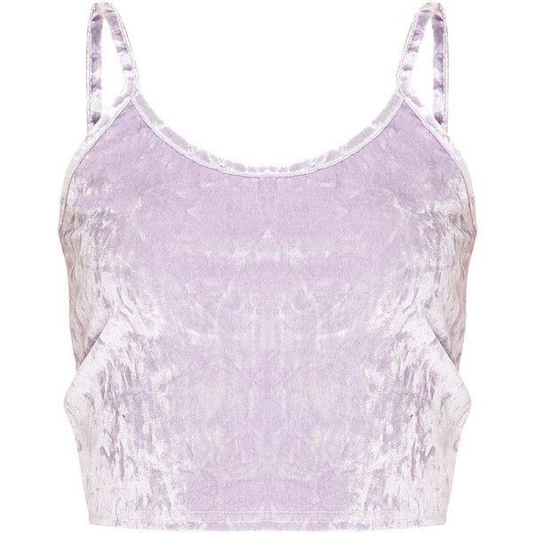 c611279bc43de1 Kathleen Lilac Crushed Velvet Cami Crop Top ( 16) ❤ liked on Polyvore  featuring tops