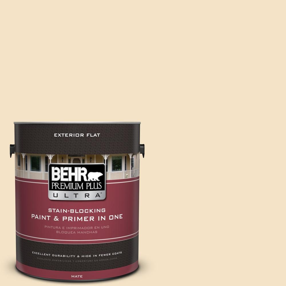 BEHR Premium Plus Ultra 1 gal. #UL180-16 Cream Puff Flat Exterior Paint