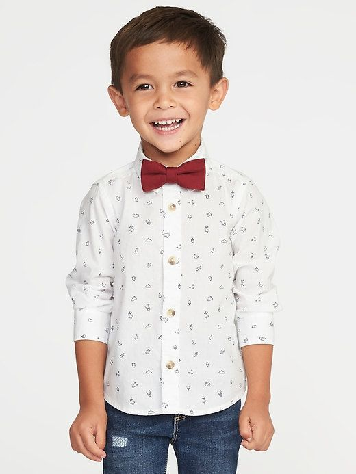 1a96dc764043 Old Navy Printed Dress Shirt & Bow-Tie Set for Toddler Boys | My ...