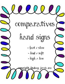 Kodaly Comparatives Signs/Posters
