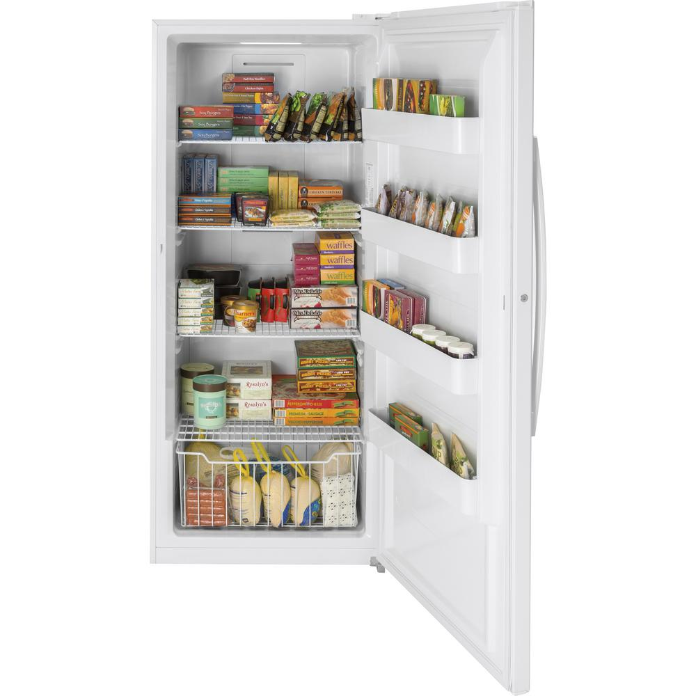 Ge Garage Ready 21 3 Cu Ft Frost Free Upright Freezer In White