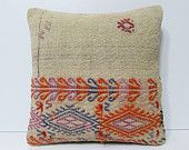 handknit burlap pillow orange purple embroidered pillow antique cushion cover turkish rug pillow western pillow case kilim pillow sham 18444