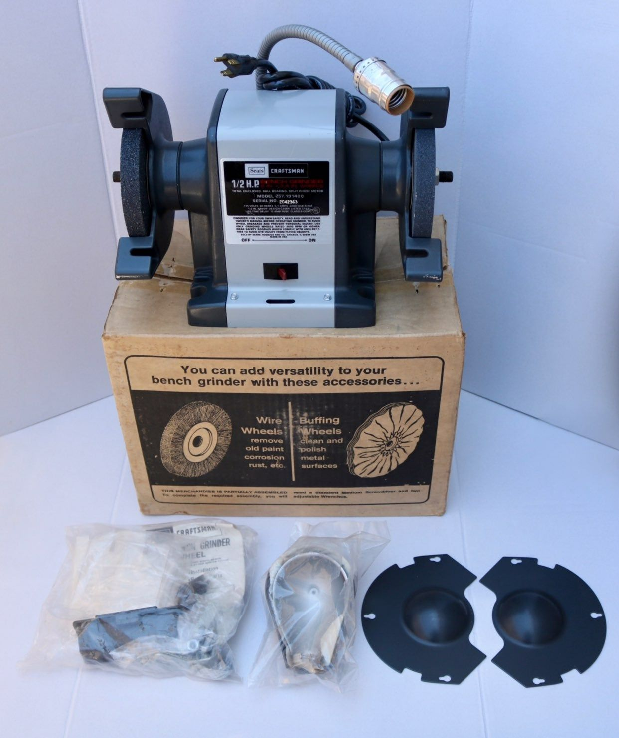 Up For Purchase Is A Vintage Sears Craftsman 1 2 H P Bench Block Grinder 6 X 3 4 Wheels 115 V A C 3580 Rpm Model N Sears Craftsman Craftsman Bench Grinder
