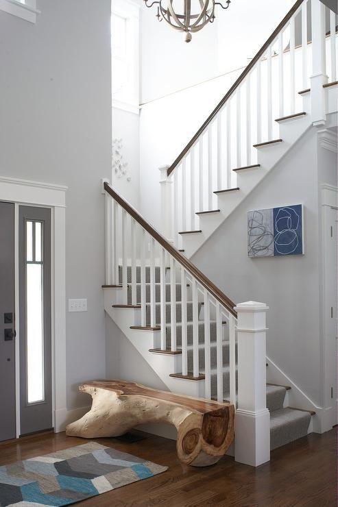 Sleek Gray Foyer Features Walls Painted Light Gray Lined