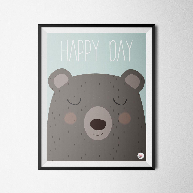 Affiche déco chambre bébé Happy day Coin des enfants