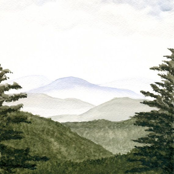 Items Similar To Mountains Landscape Painting Original Watercolor