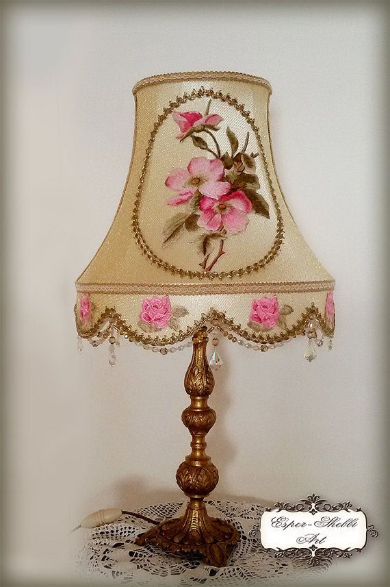 Victorian Chic Style Lampshade Golden Color By Espershabbyart