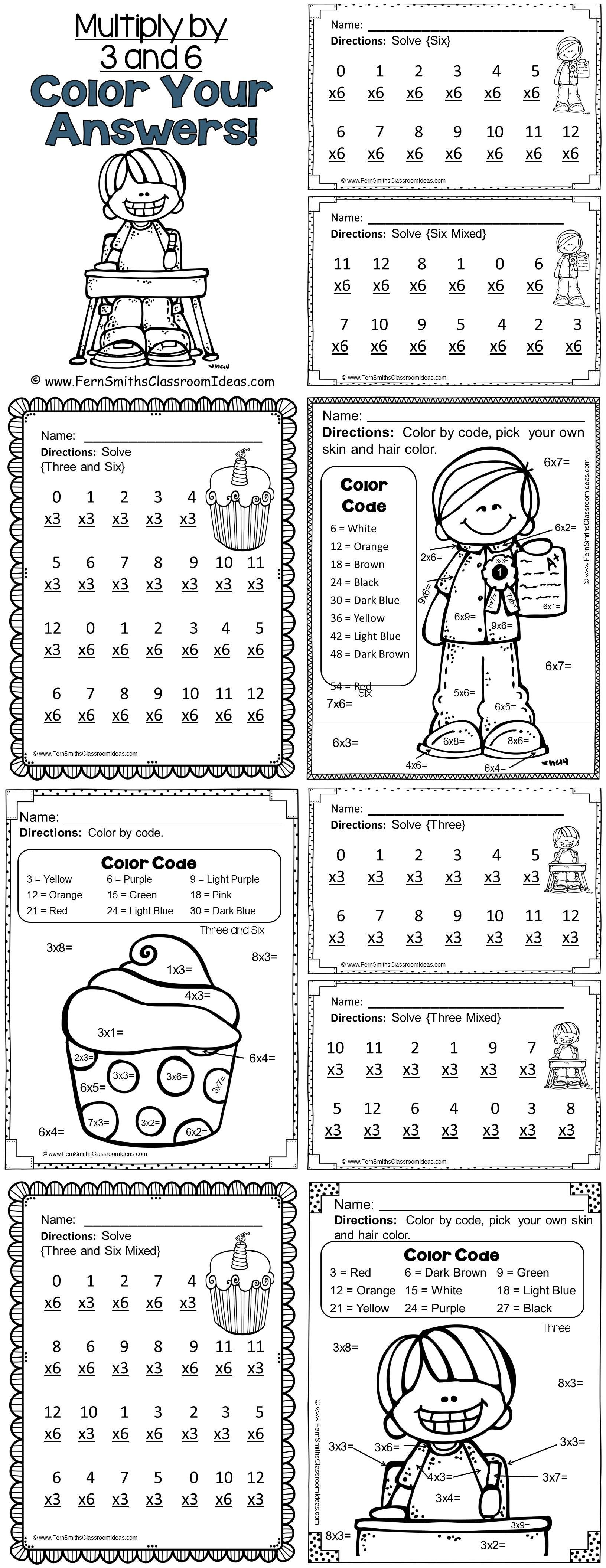 3rd Grade Go Math Chapter Four 4 3 Color By Numbers Multiply With 3 And 6