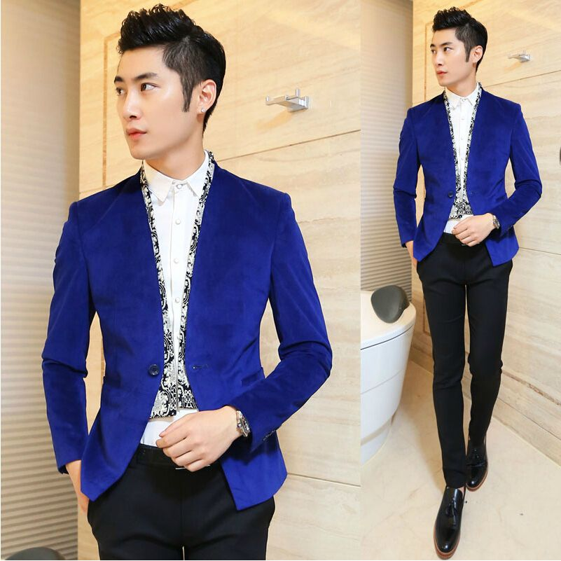 Men New Party Wear Custom Tailored Designer Royal Blue Velvet ...
